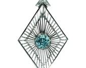 30% Off Sale Vintage artist pendant white gold blue Starlite zircon by Chris Steenbergen