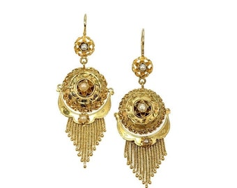 Summer Sale Gold Victorian earrings with gold tassels and half orient seed pearls 18K yellow gold