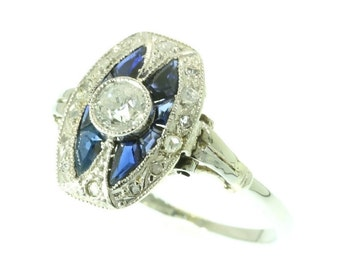 Art Deco ring sapphire and diamonds 18 karat white gold old European cut diamond blue sapphires engagement ring 1920s