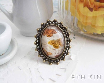 Antique Bronze Butterfly Cameo Ring, Antique Bronze Butterfly Ring, Monarch Butterfly Cameo Ring, Monarch Butterfly Ring, Butterfly Gift