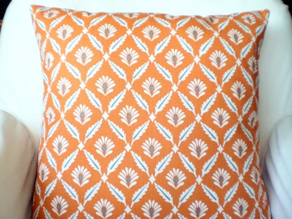 Orange Gray Pillow Covers Cushions Decorative by FabricJunkie1640