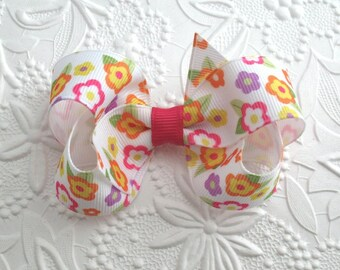 """3"""" Toddler Girls Floral Boutique Hair Bow Clip"""