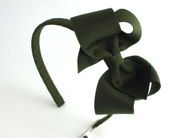 Olive Green Bow Headband, Girls Thanksgiving Headband, Hard Headband with Bow, Big Girl Headband, Olive Green Hair Bow, Toddler Headband