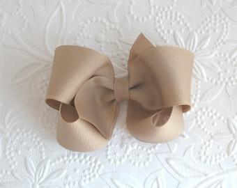Beige Tan Oatmeal Boutique Hair Bow, Toddler ~ Girls School Uniform Bow