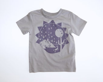 Southwest Explorer Organic Kids Tee | Fair Trade | Screen Printed Clothes | Unisex | Gender Neutral | Hipster | Desert | Cacti | Stars | Sun
