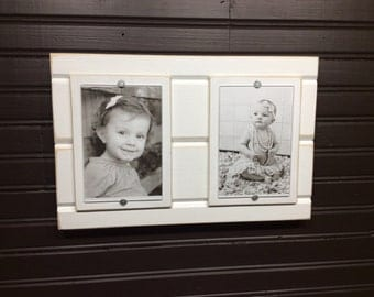 Distressed wood picture frame double 4x6
