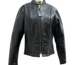 Vanson Motorcycle Jacket Vintage Womens Cafe Racer Euro Style Black Leather Biker Jckt Wms Size 12 Made In The USA