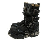 New Rock Boots Vintage Preowned Mens Black Leather Industrial Strength Motorcycle Boots Euro Size 41 Fits Mns US Size 8 1/2 Made In Spain