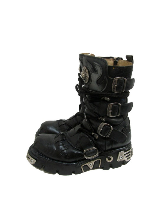 new rock boots vintage preowned mens black leather industrial