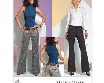 Sz 16/18/20 - Vogue Pattern V2907 by ALICE + OLIVIA - Misses' Flare Leg Low Rise Pants/Trousers - Vogue American Designer