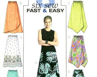 Butterick Skirt Pattern B4803 - Misses' Elastic Waist Skirts in Six Variations -  Sz 16/18/20/22 - Fast & Easy