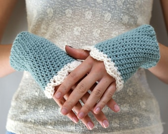 Steampunk Wrist Warmers // Blue Crocheted Fingerless Gloves // CURIO