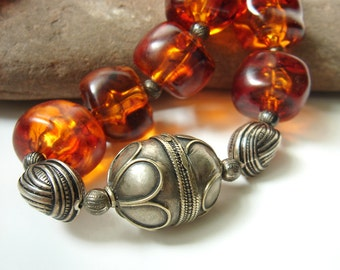 Vintage Sterling Silver Amber Resin, Faux Amber Necklace, Moroccan Silver Beads Necklace, Tribal Jewelry, Ethnic  Boho Statement Necklace