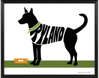 Personalized Carolina Dog Silhouette Print, Framed 8x10 American Dingo Dog Name Art Print, Dog Memorial Gift