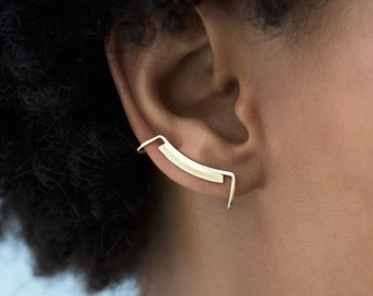 Line and Surface Ear Cuff. Minimalist Ear Cuff. Ear Bar. Ear Climber