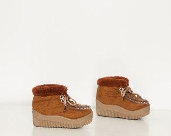 vintage 1970s baby boots faux fur