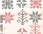 Cross Stitch overlay PNG of Norther European traditional ornaments, scrapbooking, digital art, clip art