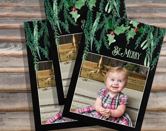5x7 Christmas holiday watercolor on black card template PSD/ photoshop
