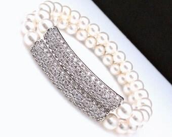 Swarovski white or cream 6mm round pearl bracelet bridal bracelet wedding jewelry clear white cubic zirconia micropave bar stretch bracelet