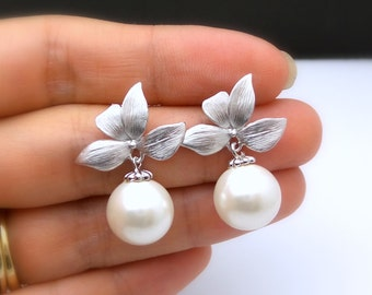 bridal wedding Jewelry bridesmaid christmas prom party gift pageant orchid flower matte post earrings round pearl drop off white cream pearl