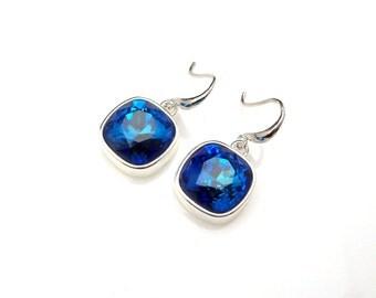 bridal bridesmaid prom gift 12mm square vintage bermuda blue swarovski cushion cut fancy crystal rhinestone sterling silver hook earrings