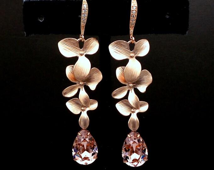 rose gold matte orchid flower layered earrings swarovski fancy crystal vintage rose rhinestone teardrop wedding bridal earrings bridesmaid
