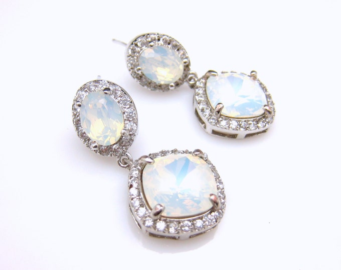 wedding jewelry bridal earrings bridesmaid gift party prom christmas Clear AAA cubic zirconia square swarovski white opal crystal oval post