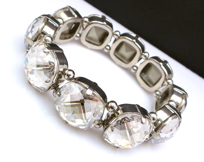 Bridal bracelet statement bracelet prom gift swarovski crystal silver shade square cushion cut foil back rhinestone crystal stretch bracelet