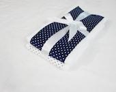 Navy Blue and White Polka Dot Burp Cloths - Set of 2