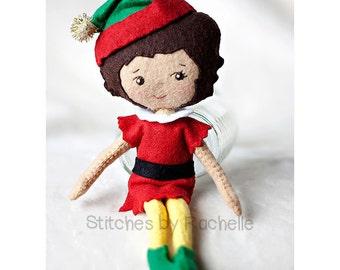 "9.25"" Christmas Elf Doll - Elf Doll - Elf Felt Handmade Posable Doll - Christmas Elf - Toy - Christmas Decor - Gingermelon Doll"