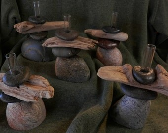 Bud Vases of Lake Superior Stone or Stone and Driftwood;  Two to Nine;  Random Vases; Discounted Price