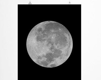 Full Moon Print  ,  La Luna Print, Moon Photography, Large Wall Art, Oversized Art, Black and White Photography, Trending Items, Trending