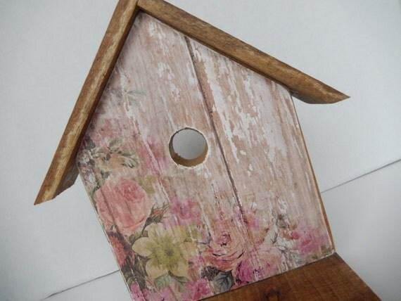 Wooden Birdhouse Wall Decor : Bird house reclaimed wood wall hanging folkart rustic aged