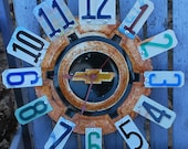 Clock Chevy Hubcap Clock,License Plate Garage ClockChevy,Man Cave-Chevy Theme Room,Gifts for him, clocks-automotive themed gift