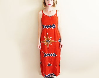 vintage dress 1990's maxi hippie bohemian batik red fishbone sun womens clothing size s m small medium