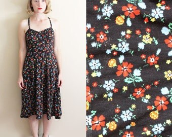 vintage dress 1970's sun summer black floral print prairie bohemian hippie size small s