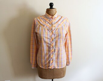 vintage blouse peach plaid 1970s shirt orange western pastel piping 70s womens clothing size medium m