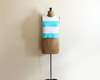 vintage tank top 90s cropped striped turquoise white knit 1990s express womens clothing size large l