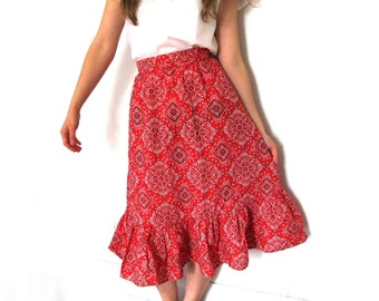 vintage skirt 70's red country western rockabilly bandana print 1970's womens clothing size extra small xs