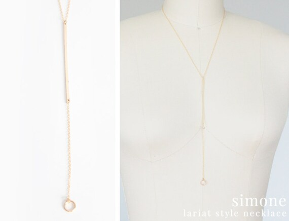 Long Layering Necklace - Lariat Style - 14k Gold Filled - Simone