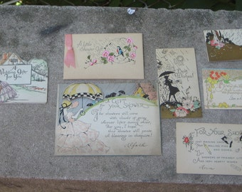 Upcycle Vintage Lot 13 1920s 1929 Wedding Shower Cards