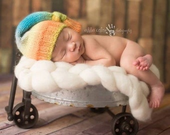 Knitted baby hat, Photo Shoot prop, KNOTTED HAT, Multicolored, Hand Knit Baby Hat,  Knotted Hat, newborn prop, Newborn Photo Shoot Prop