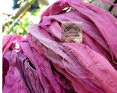 Sari Silk Hot Lips Magenta Pink Mix Recycled Silk Ribbon