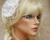 Accessories,Fascinator, Wedding Hair Clip, Bridal Comb, Bridal Hair Accessory, Birdcage Veil, Bridal Veil, Diamond White,Off White