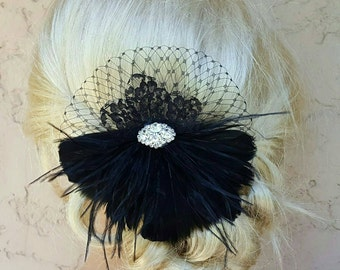 Wedding Hair Clip, Black  Fascinator,Black Feather Headband, Feather Hair Clip, Bridal Accessories, Wedding Accessories, Gifts for Her