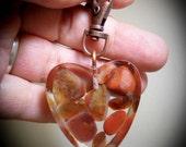 Lake Superior Agate Clip on Key Chain, Purse Clip, FOB, Rear View Mirror, Window, Sun Catcher, Copper, Heart 01