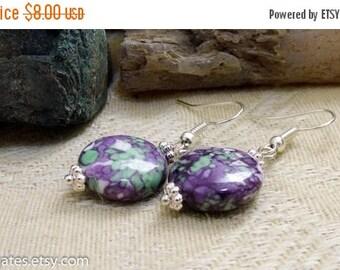 On Sale Purple Green White Floral Silver Dangle Earrings