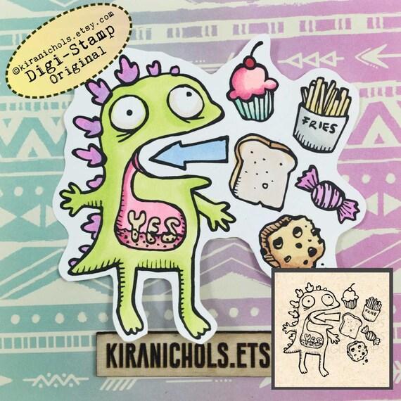 I love carbs Digital Stamp - Dinosaur Digital Stamp - Digistamp - Coloring Pages - Printable Sticker - Clip Art - Printables