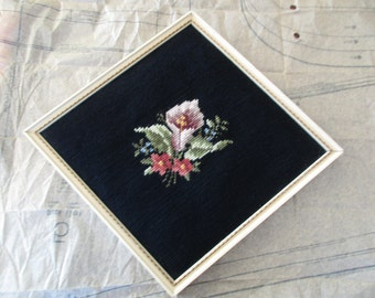 vintage framed NEEDLEPOINT-  flowers, black, calla lily