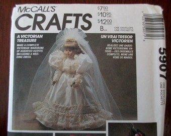 vintage McCall's Pattern 5907 -  uncut, doll clothes, Victorian, wedding dress, cape, robe, gown
